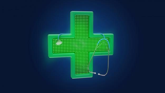 Lighting pharmacy cross and a stethoscope, 3d render