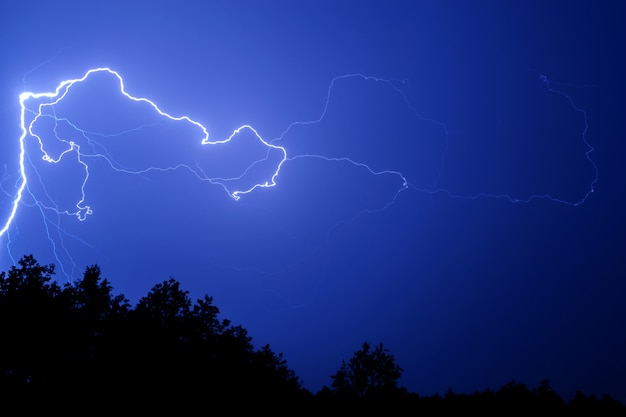 Lightning against a blue night sky above the trees.