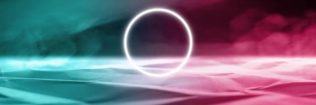 Круг молнии. synth wave и ретро wave, футуристическая эстетика паровой волны. светящийся неоновый стиль. горизонтальные обои, фон. стильный флаер для рекламы, предложения, ярких цветов и дымчатого неонового эффекта.