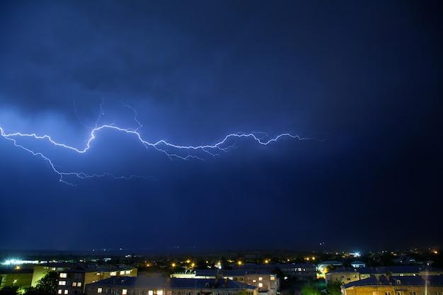 Lightning on a dark blue sky