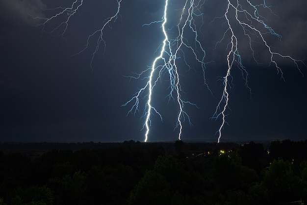 Lightning strike on the night sky