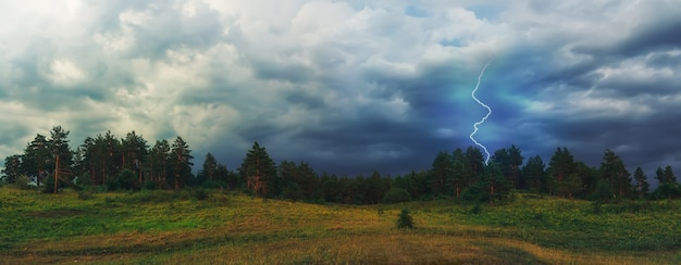 Lightning strikes in the forest. epic landscape against the backdrop of an impending storm. dramatic clouds.