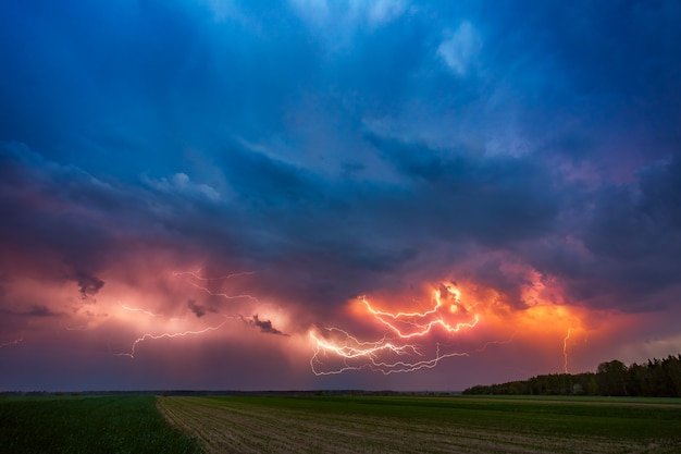 Lightning with dramatic clouds of thunder storm
