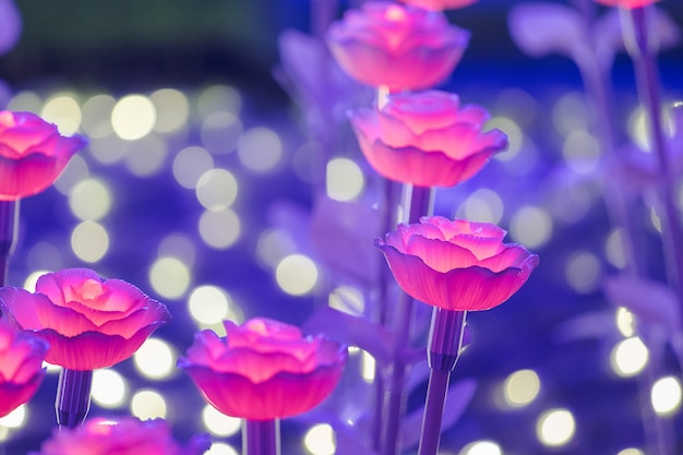 The lights are decorated as flowers to create beautiful light at night at the festival.