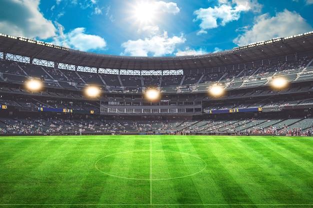 Огни ночью и футбольный стадион 3d-рендеринг зеленая трава цель