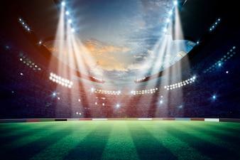 夜のライトとスタジアム。混合メディア
