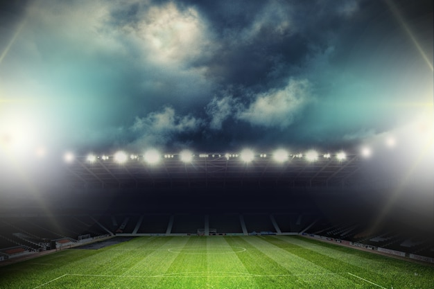 夜の空のスタジアムのライト