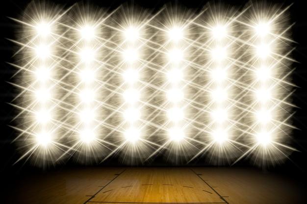Lights on a basketball court.