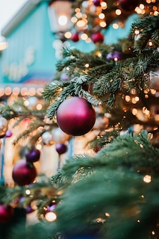 Lights on christmas tree in copenhagen