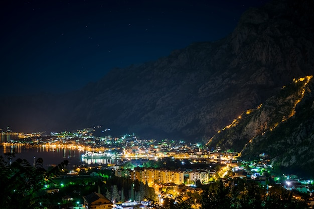 The lights of the night city in the old fjord