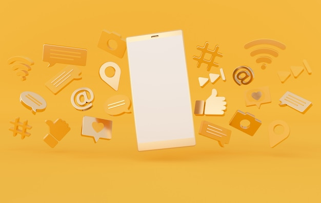 좋아요, 채팅, 댓글 풍선, 카메라, 해시 태그, wi-fi 무선 네트워크 기호, at, 재생 아이콘 및 스마트 폰.
