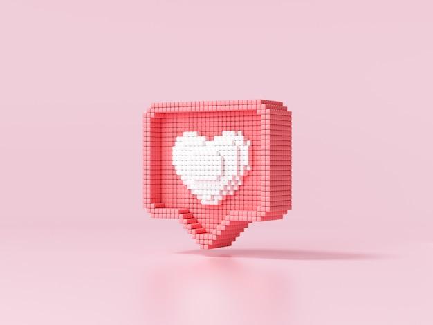 Как значок сердца на розовом фоне