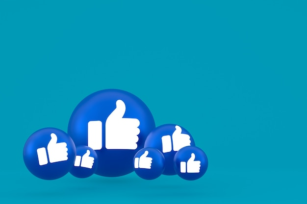 Like icon facebook reactions emoji 3d render,social media balloon symbol on blue background