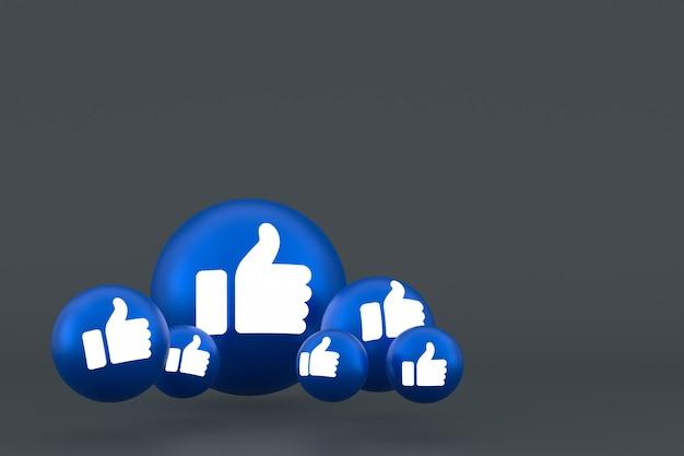 Значок лайка facebook реакции смайликов 3d визуализации, символ воздушного шара в социальных сетях на сером