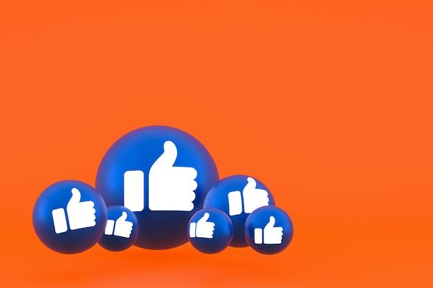 Значок лайка facebook реакции смайликов 3d визуализации, символ воздушного шара в социальных сетях на оранжевом