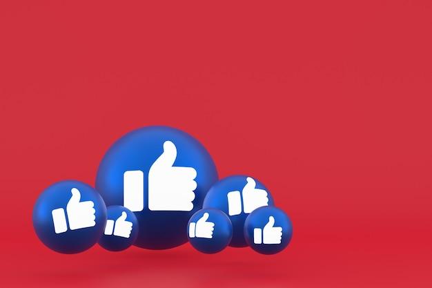 Нравится значок facebook реакции смайликов 3d визуализации, символ воздушного шара социальных сетей на красном