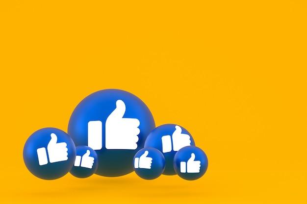 Значок лайка facebook реакции смайликов 3d визуализации, символ воздушного шара в социальных сетях на желтом