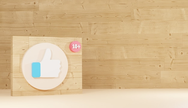 Like icon and logo on wooden board minimal 3d background rendering social network sign premium