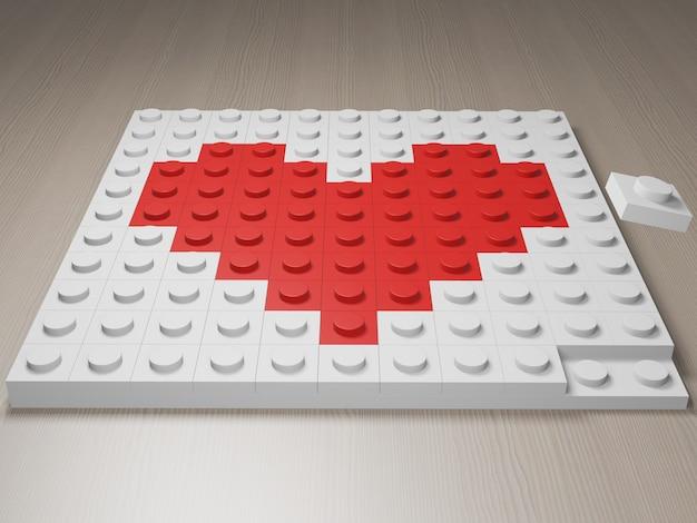 Иконка из кубиков в стиле lego. красное сердце из кубиков. 3d фотореалистичная визуализация.