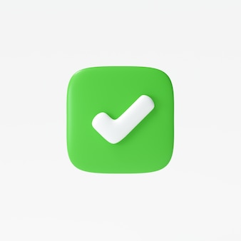 Как или правильный значок символа, изолированный белый фон, кнопка галочки, значок мобильного приложения. 3d визуализация иллюстрации