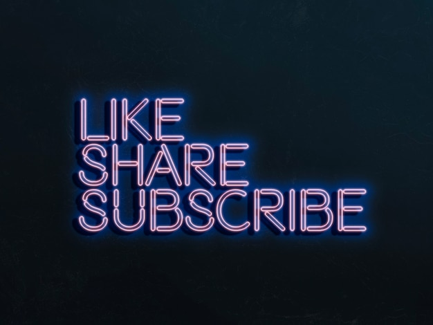 A like share and subscribe neon sign on the wall concept of online media trends