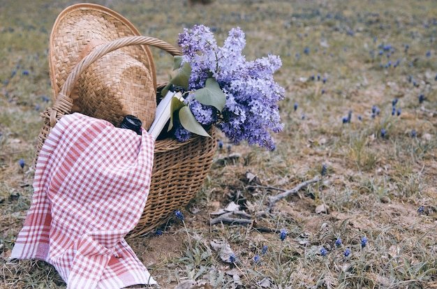 Lilac flower bouquet in wicker basket with picnic necessity