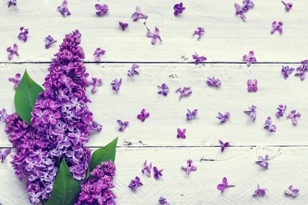 Букет цветов сирени на белом фоне деревянные