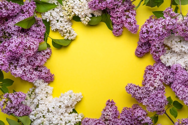 Рамка сиреневые цветы на желтом