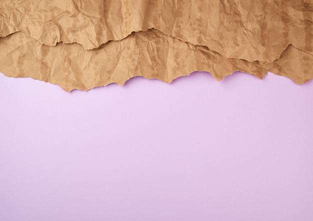 Lilac surface with brown torn paper elements