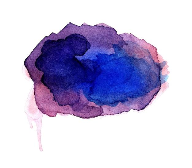 Сиреневое акварельное пятно с вкраплениями и пятнами. изолированное фиолетовое пятно на белом фоне. яркое сине-розовое рисованное пятно.