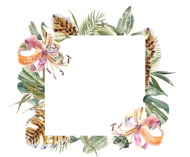 Lili flowers animal skin print, tropical leaves frame. exotic floral border