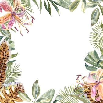 Lili flowers animal skin print, tropical leaves frame. tiger print flowers border