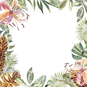 Lili flowersアニマルスキンプリント、トロピカルリーフフレーム。虎柄花ボーダー