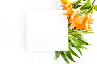 Lilies and leaves near paper sheet