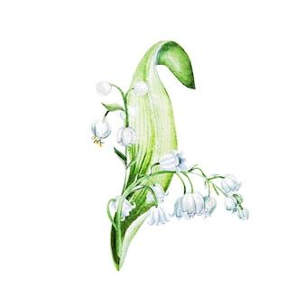 Цветы ландыша. акварель рисованной иллюстрации.