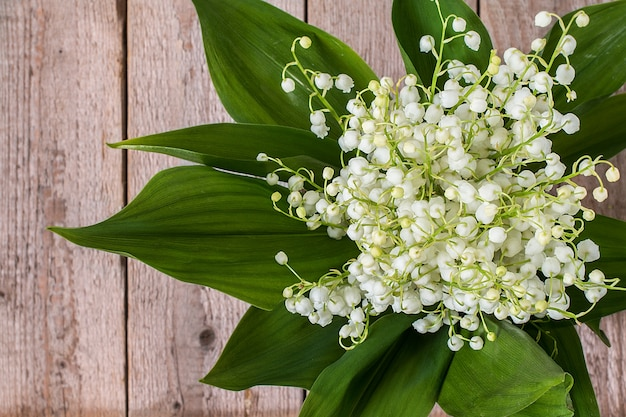 Lilly of valley  on wooden table.  top view