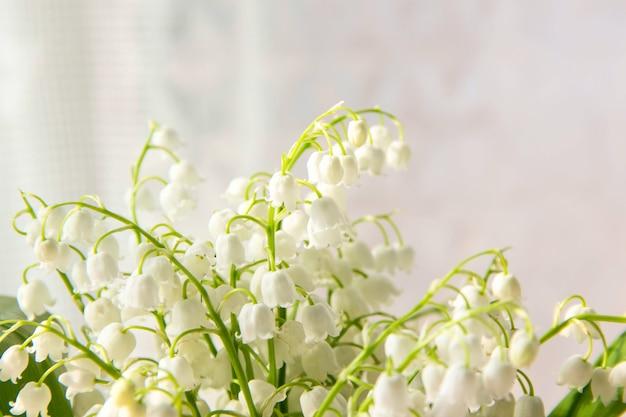 은방울꽃 꽃. 밸리 백합 계곡의 개화 백합과 자연 배경