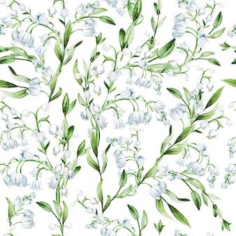 スズランの花の水彩イラストプリントパターン
