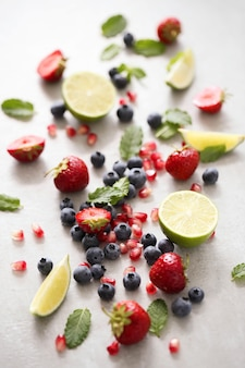 Lime, berries and leaves