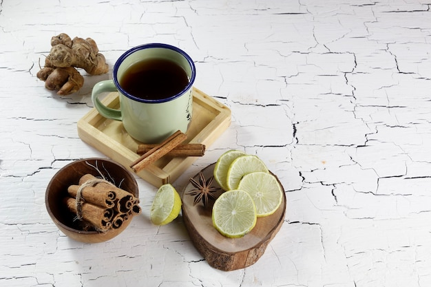 Lime cinnamon ginger and a cup of tea