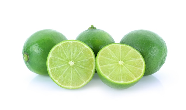 Lime citrus fruit (lime cut) isolated on white background.
