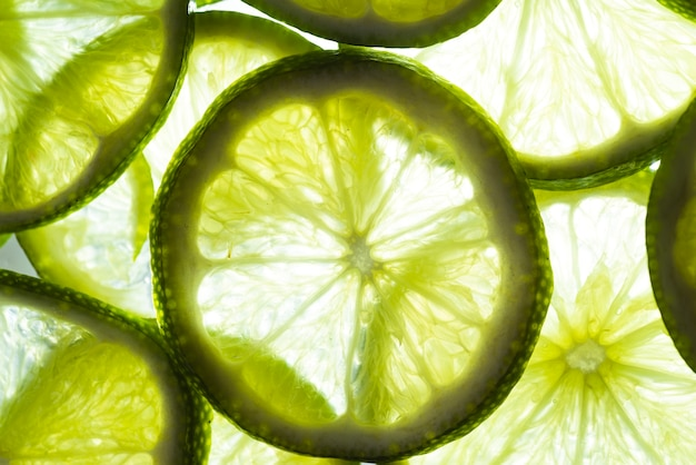 Lime cut slices in sunlight