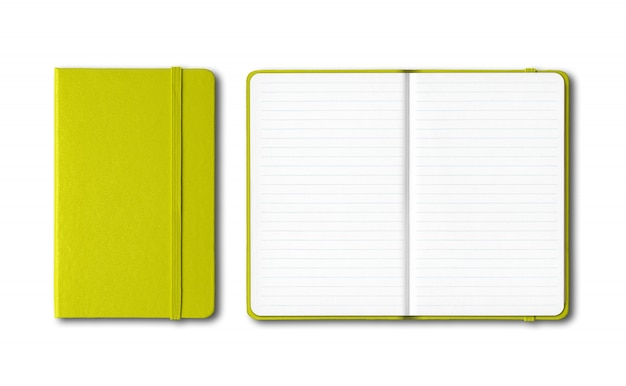 Lime green closed and open lined notebooks isolated on white