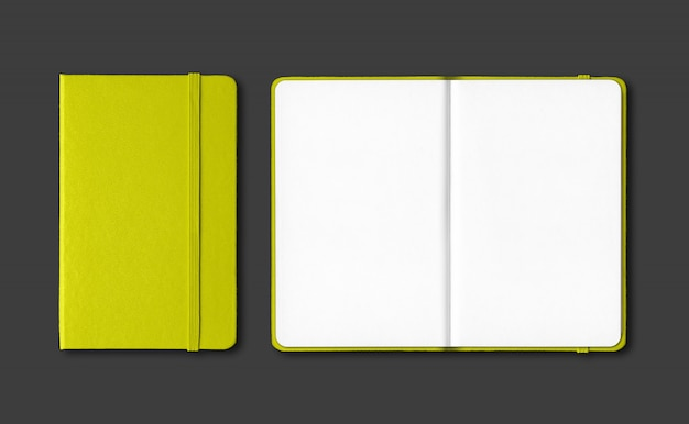 Lime green closed and open notebooks isolated