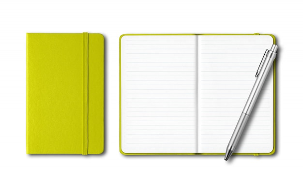 Lime green closed and open notebooks with a pen isolated on white