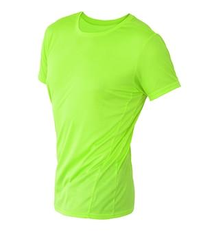 あなたのデザインのモックアップのために白い背景で隔離の目に見えないマネキンのライムグリーンのtシャツテンプレート