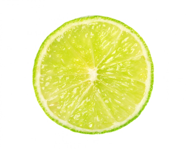 Lime isolated on white space. round slice of juicy and fresh lime. with clipping path. top view
