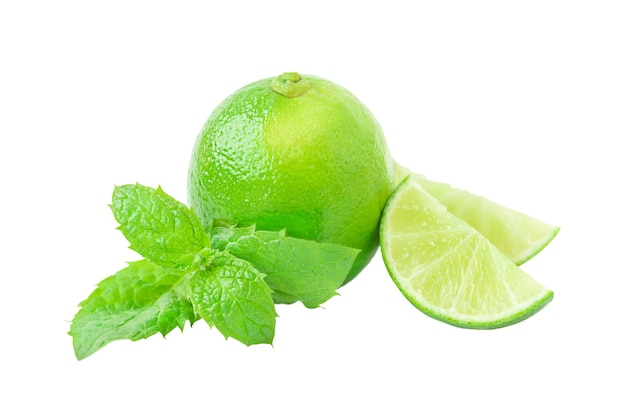 Lime its slices and leaves of mint isolated