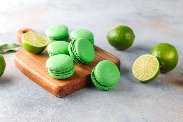 Lime macaroons with fresh fruits.