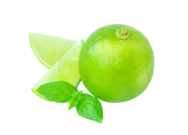 Lime and mint leaves isolated